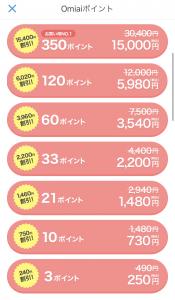 Omiaiでポイントを追加購入する画面
